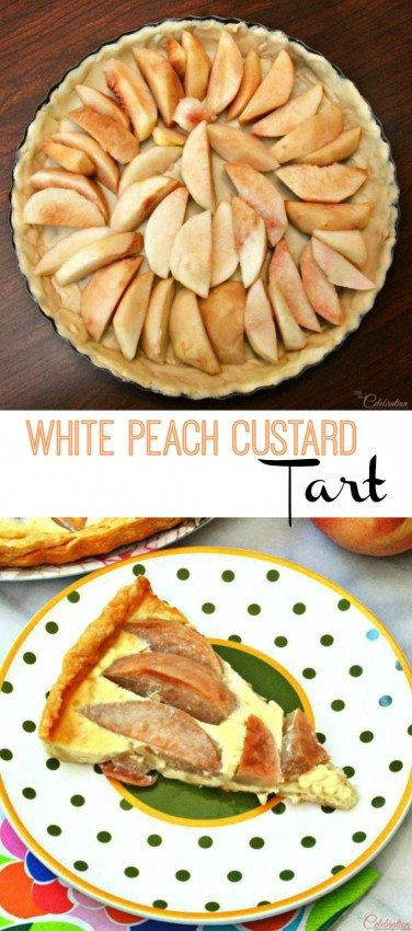 Sugared White Peach Custard Tart