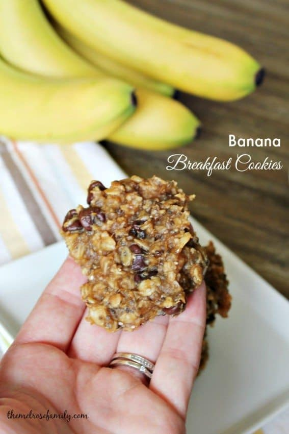 Banana Breakfast Cookies packed with protein #breakfastcookie #banana #themelrosefamily
