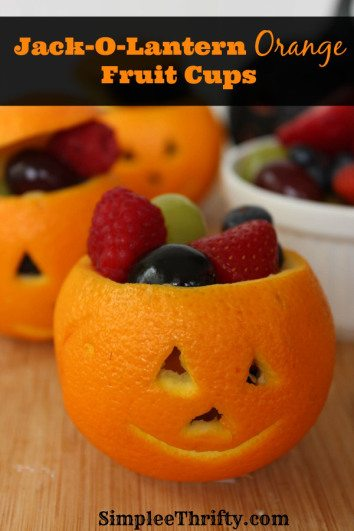 Jack-O-Lantern Orange Fruit Cups by Simplee Thrifty