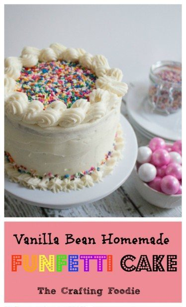 This Vanilla bean homemade funfetti cake is perfect for celebrations! Loaded with rainbow jimmies and homemade frosting its super yummy and fun to make. #homemade #funfetticake #cakerecipes #nymelrosefamily via @jennymelrose