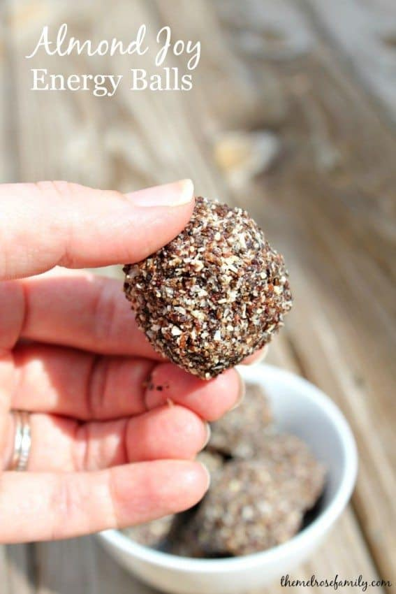 Almond Joy Energy Balls #healthysnack #vegan #themelrosefamily