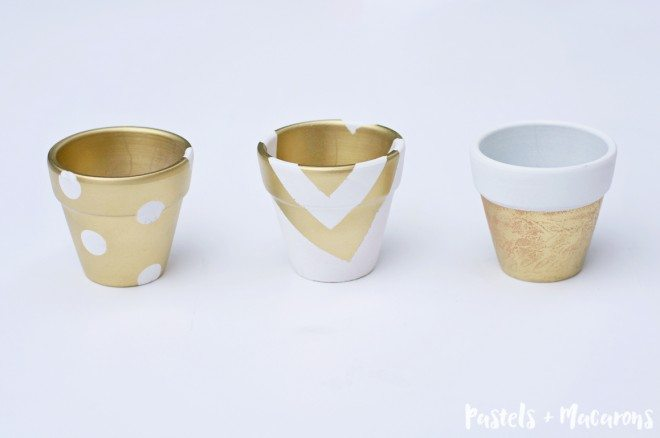 DIY White & Gold Pots Finished