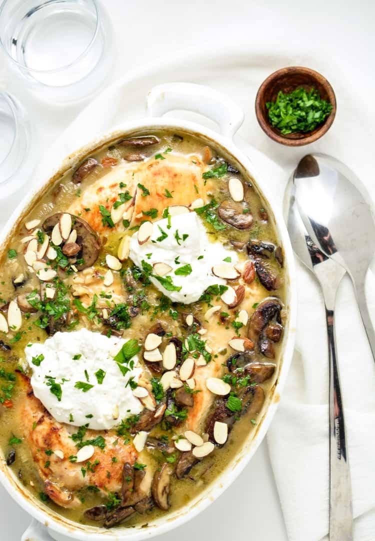 Almond Chicken & Mushroom Casserole