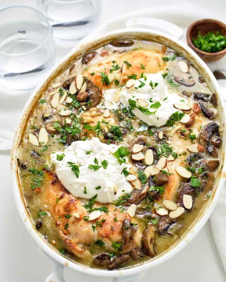 Almond chicken and Mushroom Casserole Meal