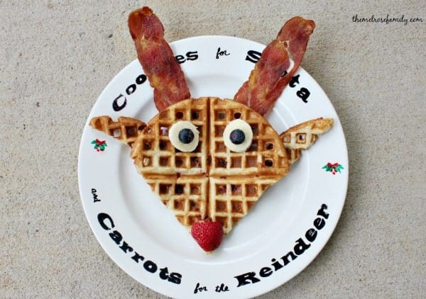 waffle in the shape of a reindeer with bacon