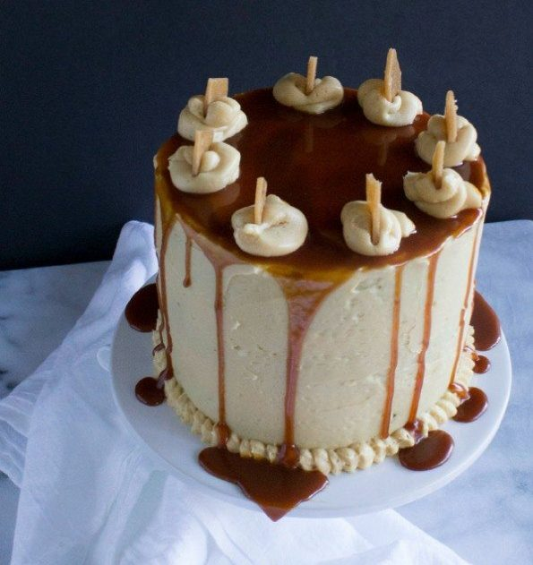 Brown Butter Pumpkin Cake with Caramel Frosting & Toffee