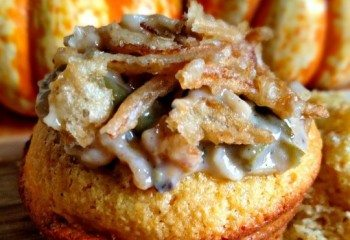 Green Bean Casserole Cornbread Cups by Sincerely Mindy