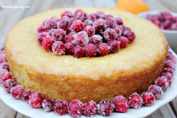 Orange Cake with Sugared Cranberries