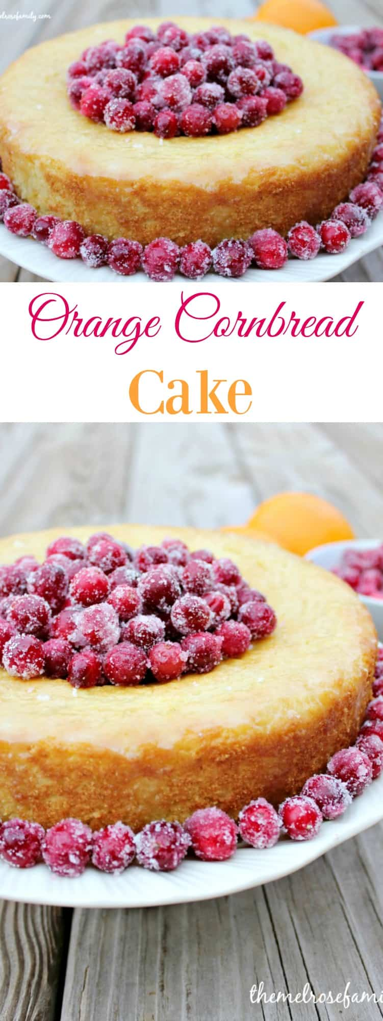 Orange Cornbread Cake with Sugared Cranberries is the perfect cake that's sure to impress.