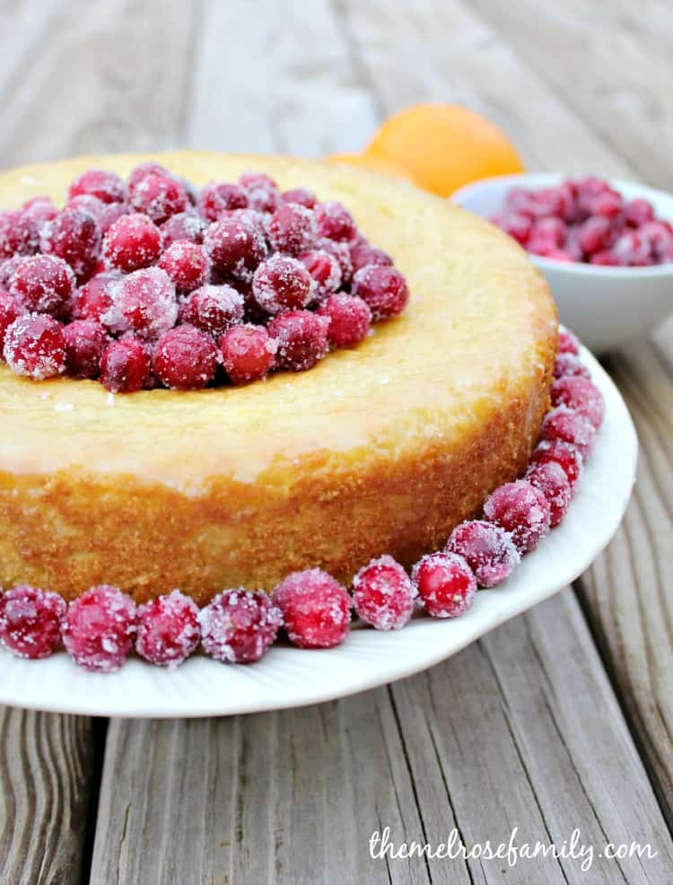 Orange Cornbread Cake with Sugared Cranberries