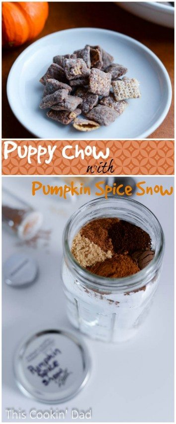 Puppy Chow with Pumpkin Spice Snow is the perfect quick and easy snack idea.