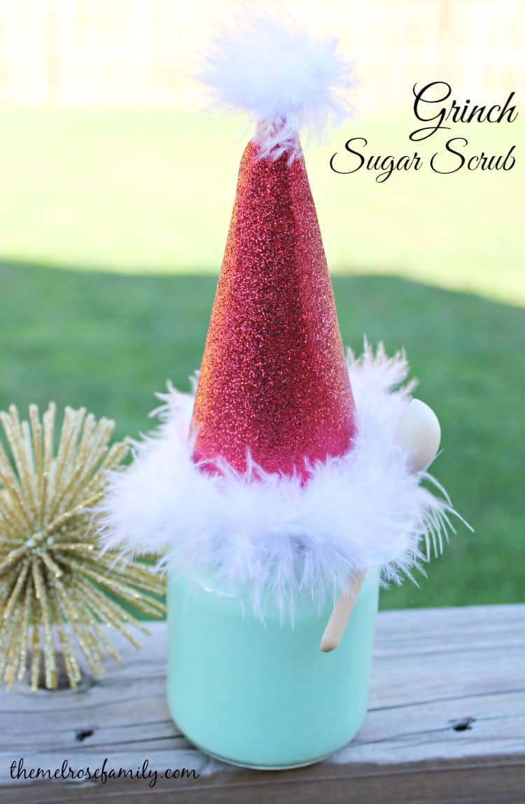 Grinch Sugar Scrub is the a fun gift idea.
