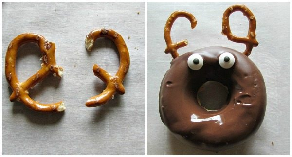 Pretzels broken and placed as antlers on a reindeer donut
