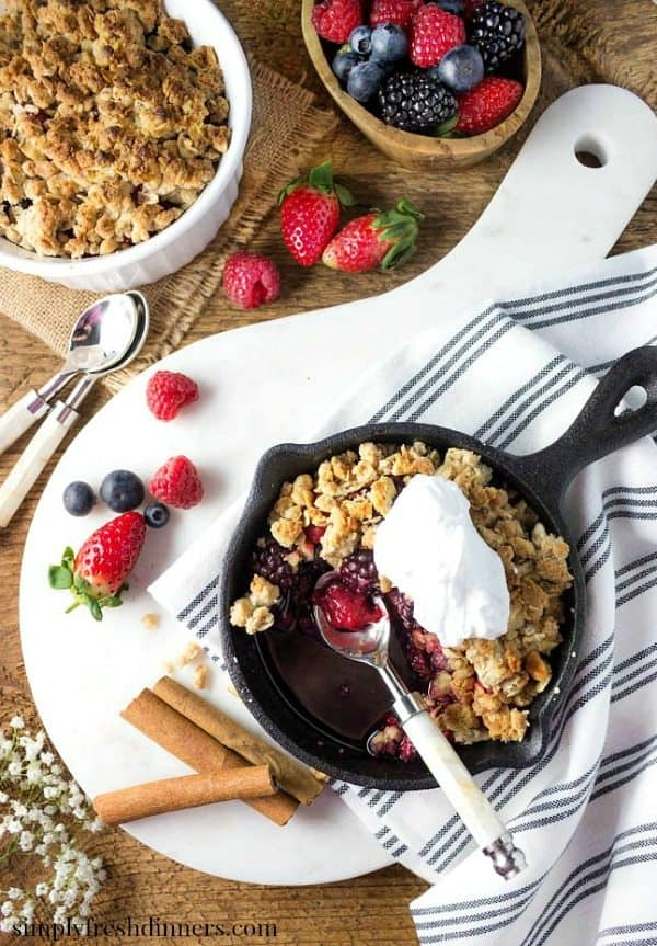 Mixed Berry Crisp in cast iron