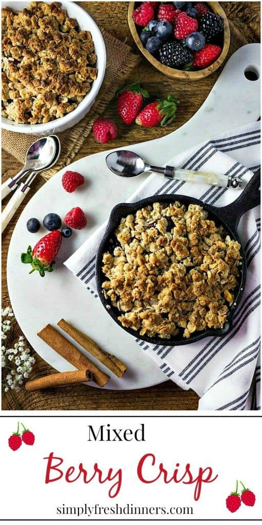 Mixed Berry Crisp is the perfect fresh dessert that you don't have to feel guilty about.