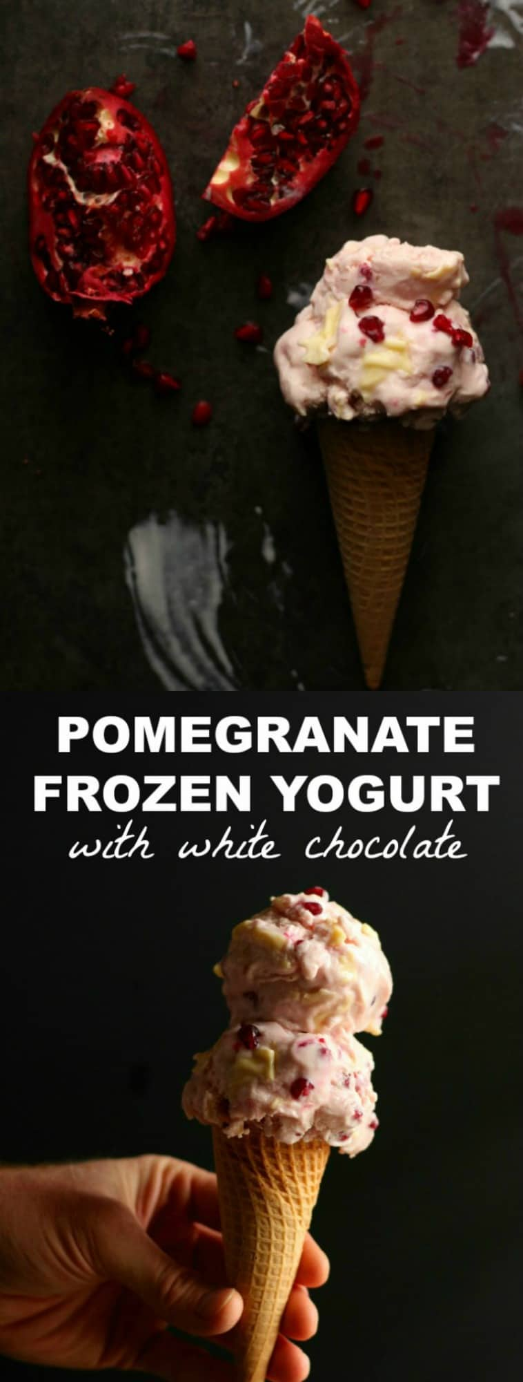 Pomegranate Frozen Yogurt with White Chocolate Skinny Dessert Idea