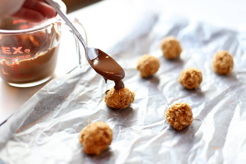 Salted Sunbutter Truffles with chocolate