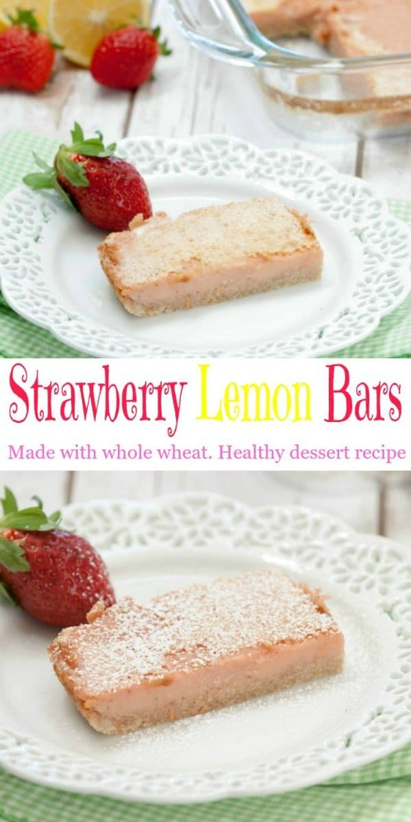 Strawberry Lemon Bars made with whole wheat are the perfect healthy dessert.