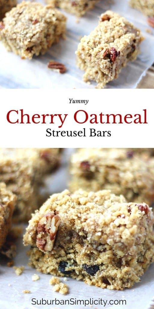 Cherry Oatmeal Streusel Bars are the perfect snack idea.