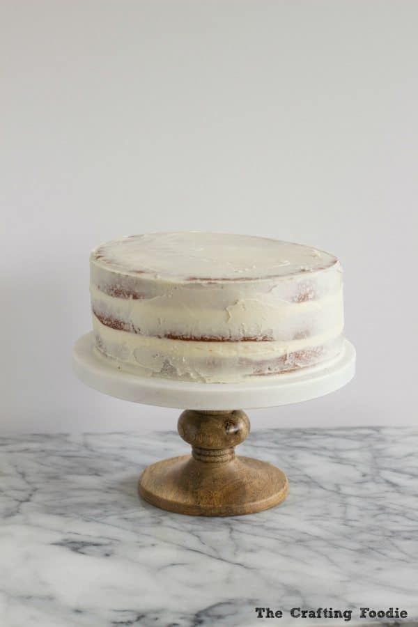 Valentine's Day Red Ombre Cake with crumb coat