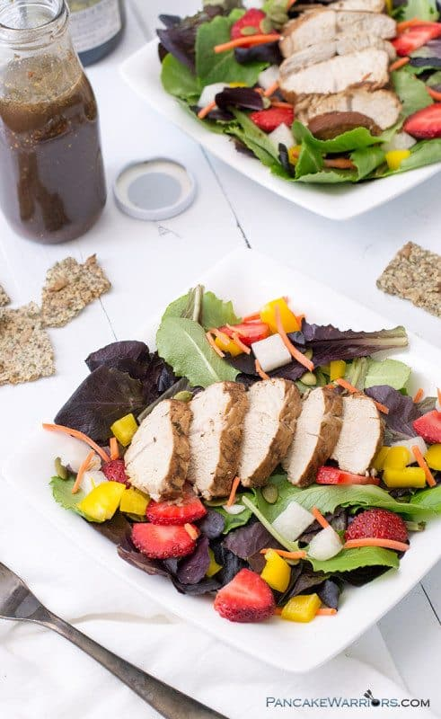 Are you ready for a healthy Spring meal? Banish your winter blues with this Balsamic Chicken Strawberry Salad, which is perfect for brunch, lunch or dinner.