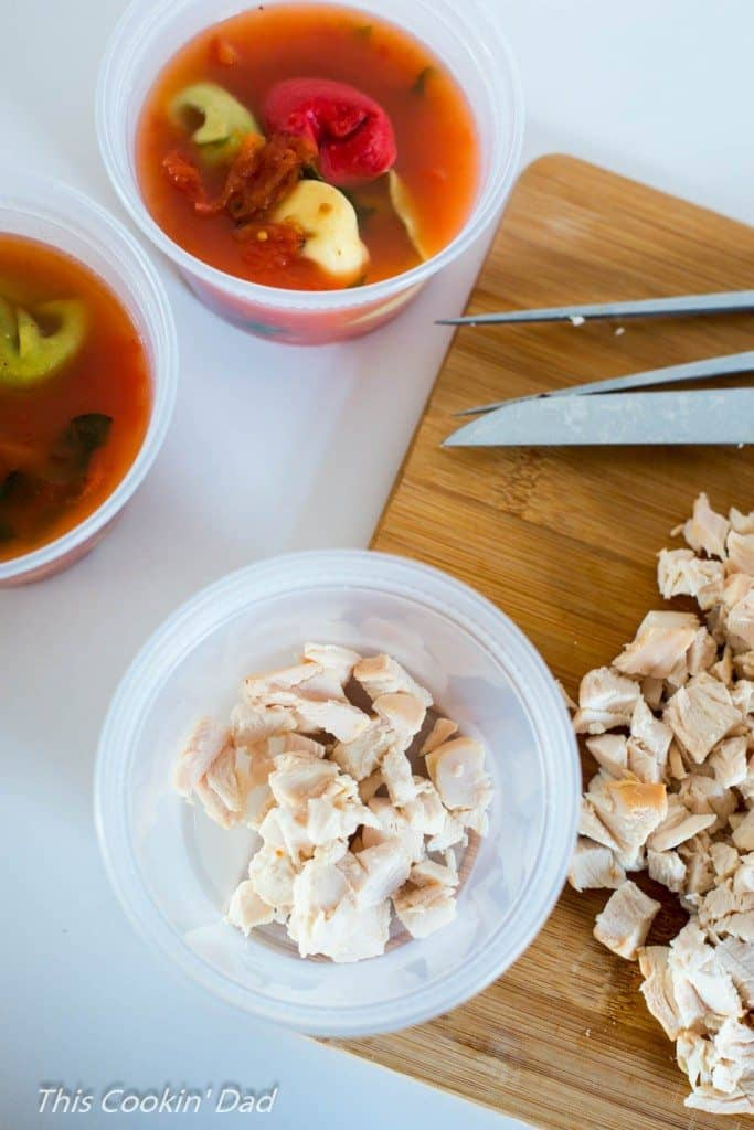 Chicken and Spinach Tortellini Soup assembly