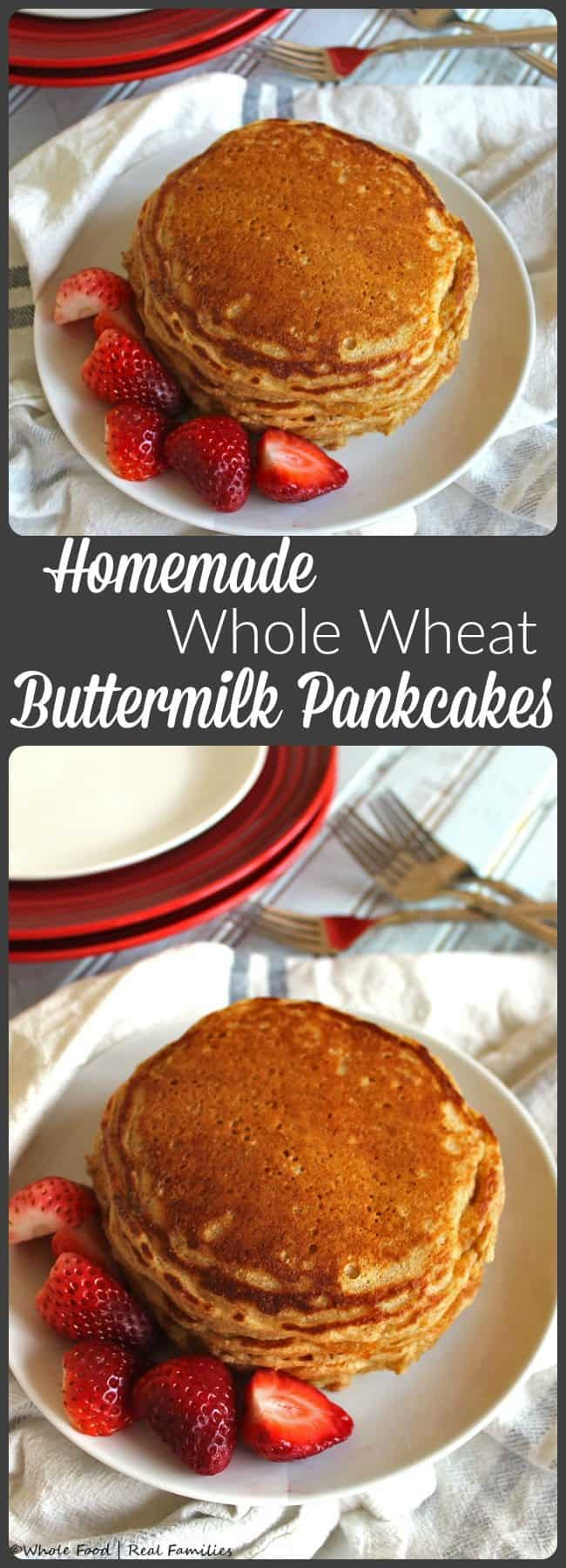 Are you a pancake lover, but feel regret over eating them? These whole wheat buttermilk pancakes are the perfect healthy breakfast idea.