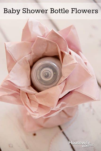 Baby Shower Bottle Flowers by Housewife Eclectic