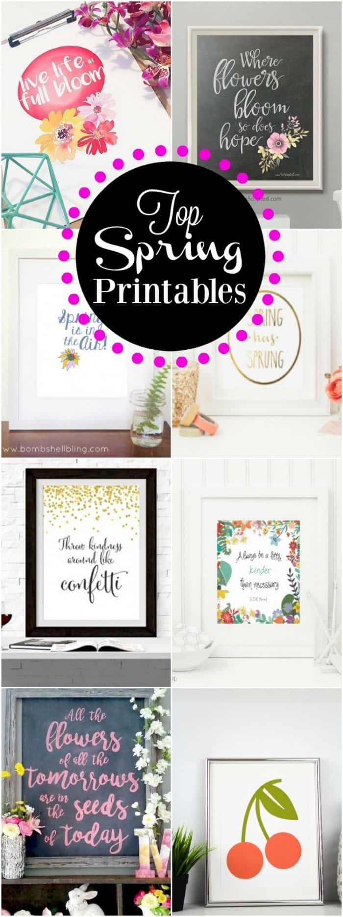 Need a quick and easy way to update your decor for Spring  These Top Spring Printables are the perfect addition to any home decor.