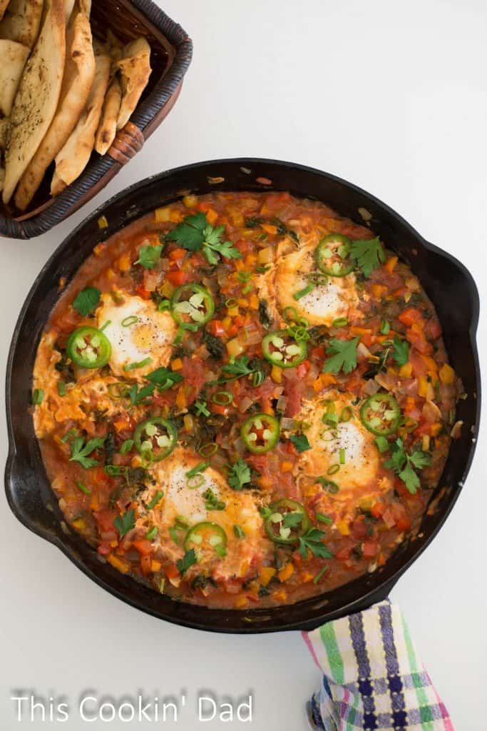 Pepper and Kale Shakshuka breakfast