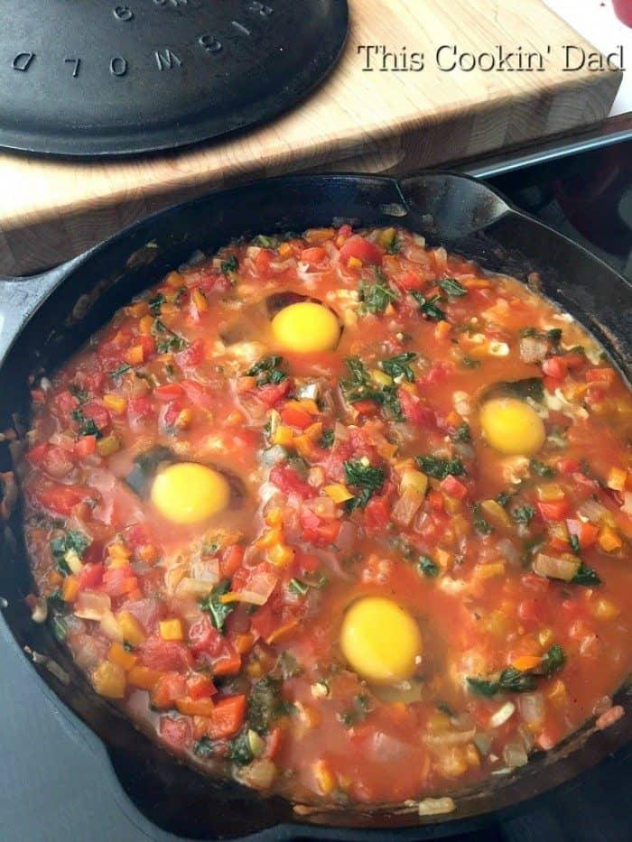Pepper and Kale Shakshuka cooking