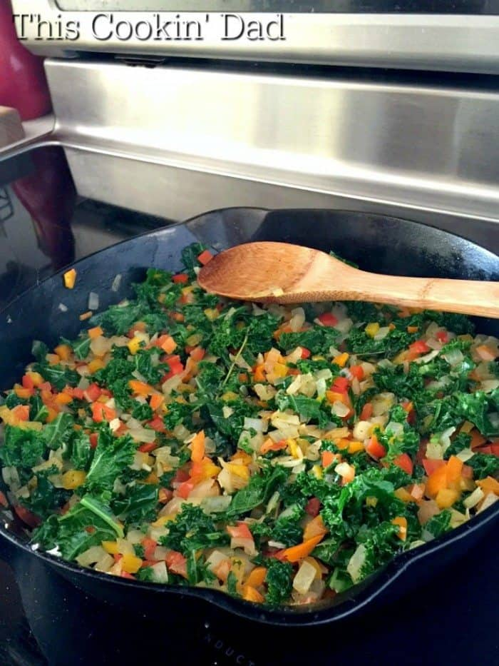 Pepper and Kale sauteed for Shakshuka