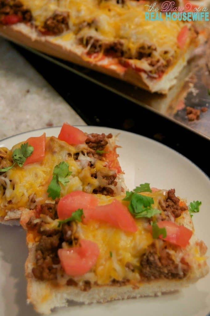 Taco French Bread Pizza sliced