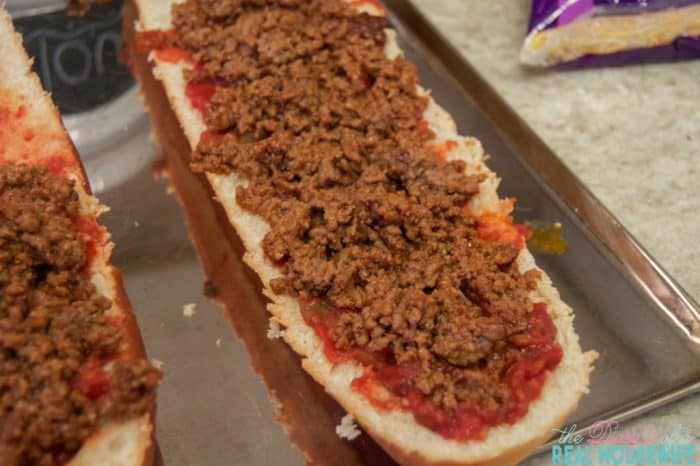 Taco French Bread Pizza with beef