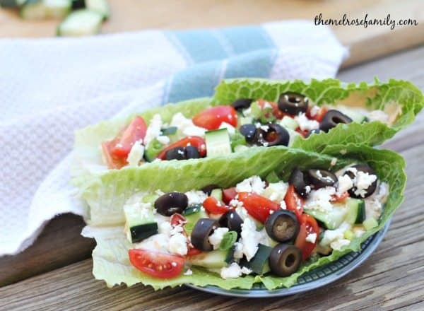 Vegetarian Greek Wraps with cucumbers