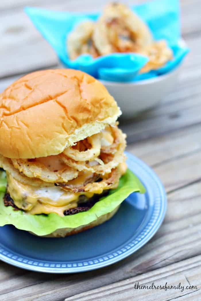 Bacon Cheddar Ranch Burger with Onion Strings