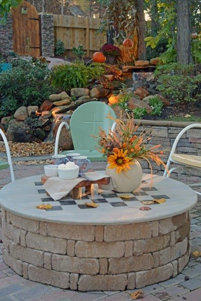 DIY Fire Pit Cover & Game Table by All Things Heart and Home