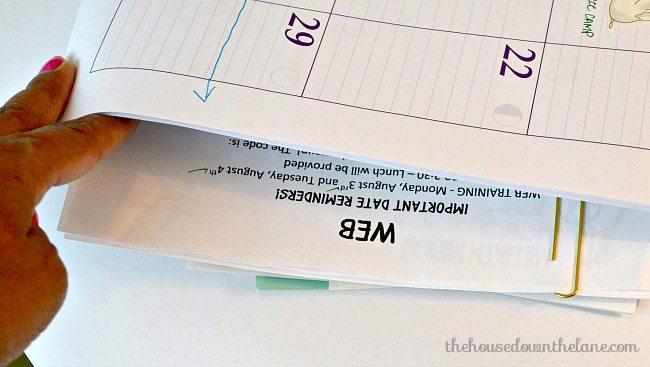 Organized Home Office calendar close up