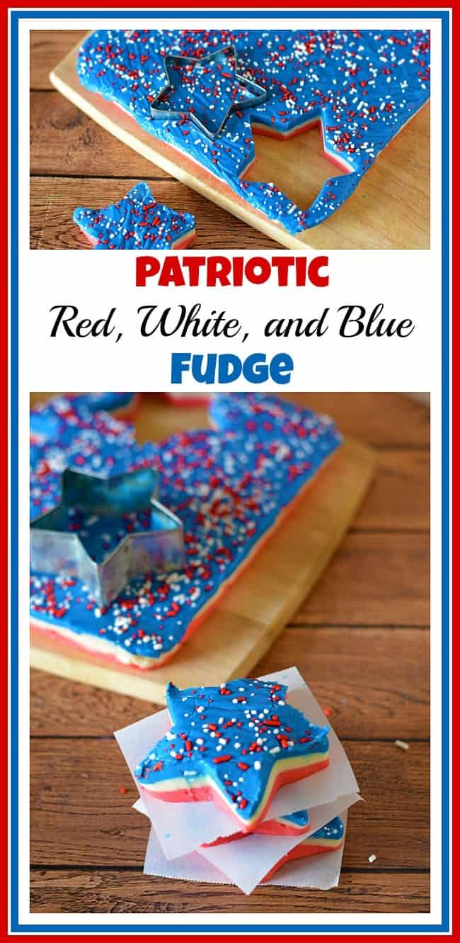 Patriotic Red White and Blue Fudge by A Cultivated Nest