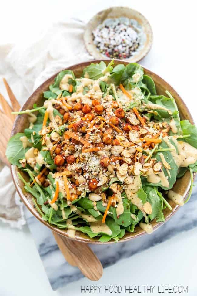 Spiced Chickpea Kale Salad with Lemon Cashew Dressing by Happy Food Healthy Life