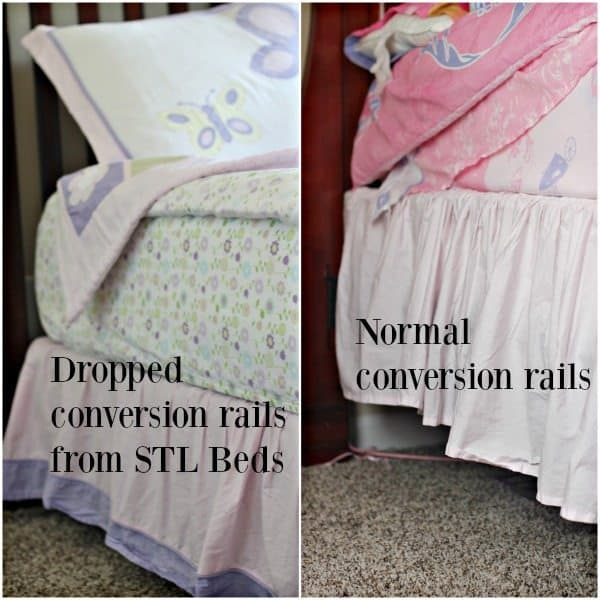 Transitioning toddler with conversion rails
