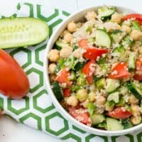 Cucumber Tomato Quinoa Salad with extra cucumbers and tomatoes