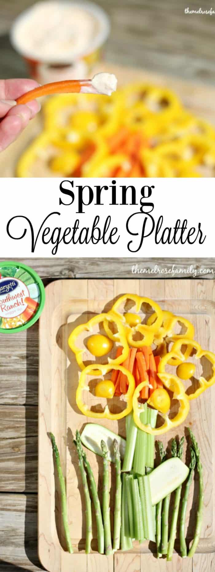 In need of a perfect vegetable platter This Spring Flower Vegetable Platter is simple to throw together and so good!