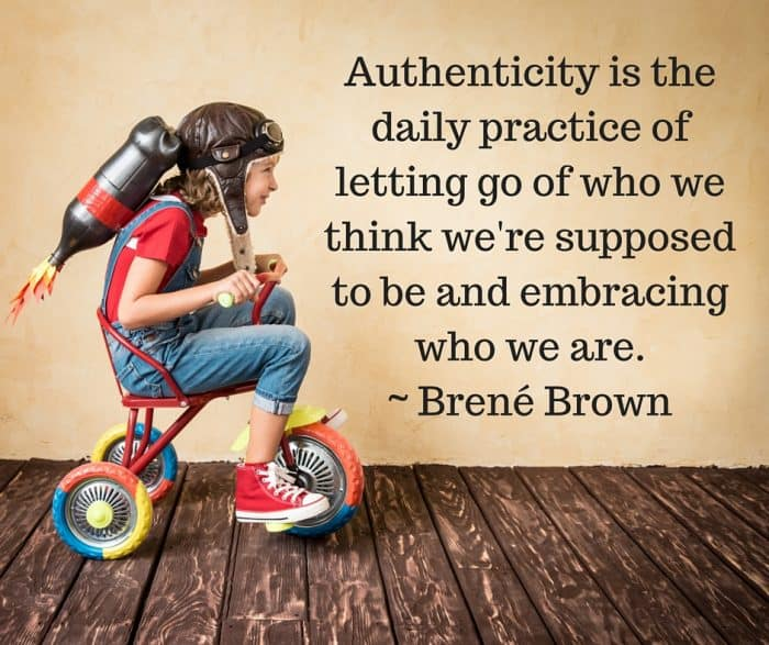"""image of a boy on a bike pretending to be an astronaut with the brene brown quote """"Authenticity is the daily practice of letting go of who we think we're supposed to be and embracing who we are."""""""