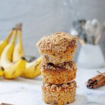 Three banana bread muffins stacked