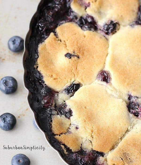 Blueberry Cobbler in Pie Tin