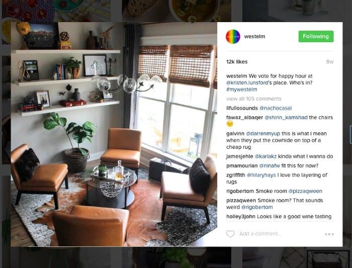 a screen shot of an instagram post for West Elm showing a gorgeous sitting room