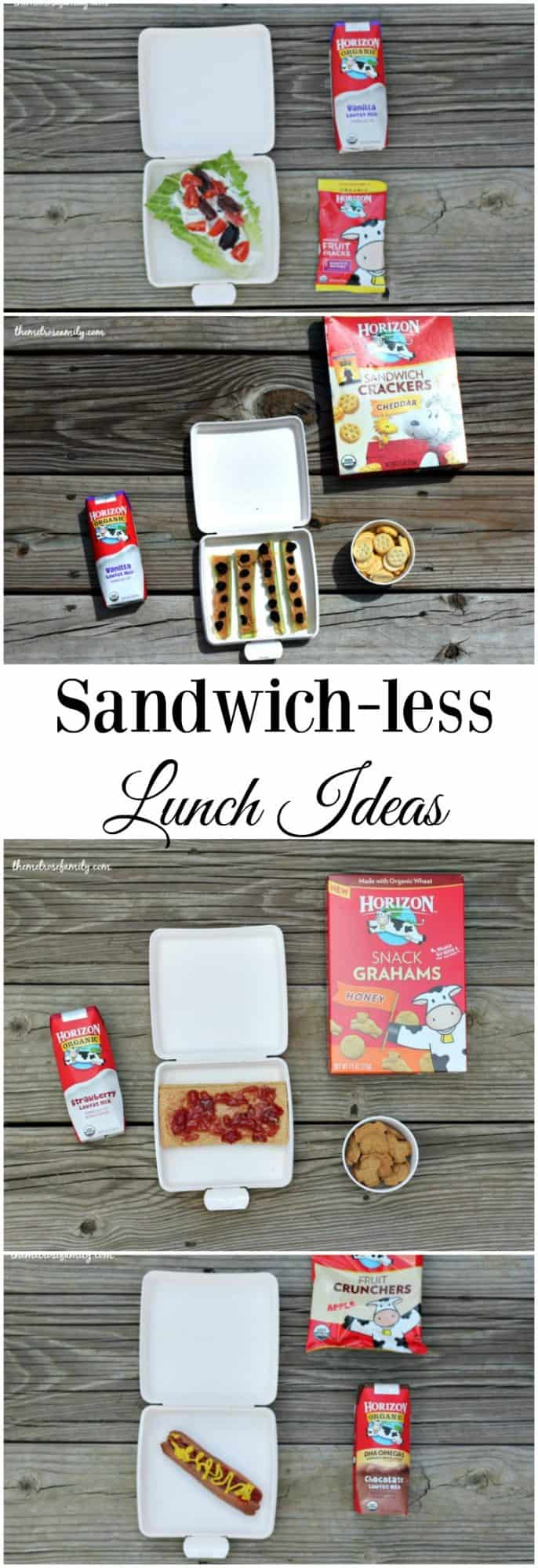 Tired of the same old school lunches every day? These sandwich-less lunch ideas paired with a snack and drink will have your kids asking for more!