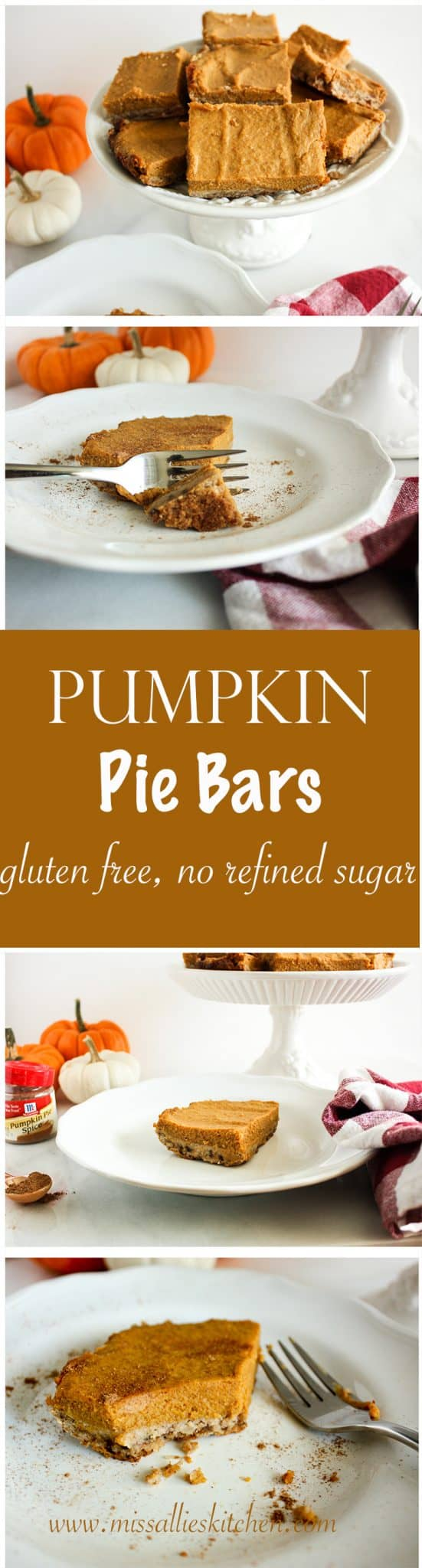 Let's talk Fall because these Pumpkin Pie Bars scream Fall and they are gluten free with no refined sugars.