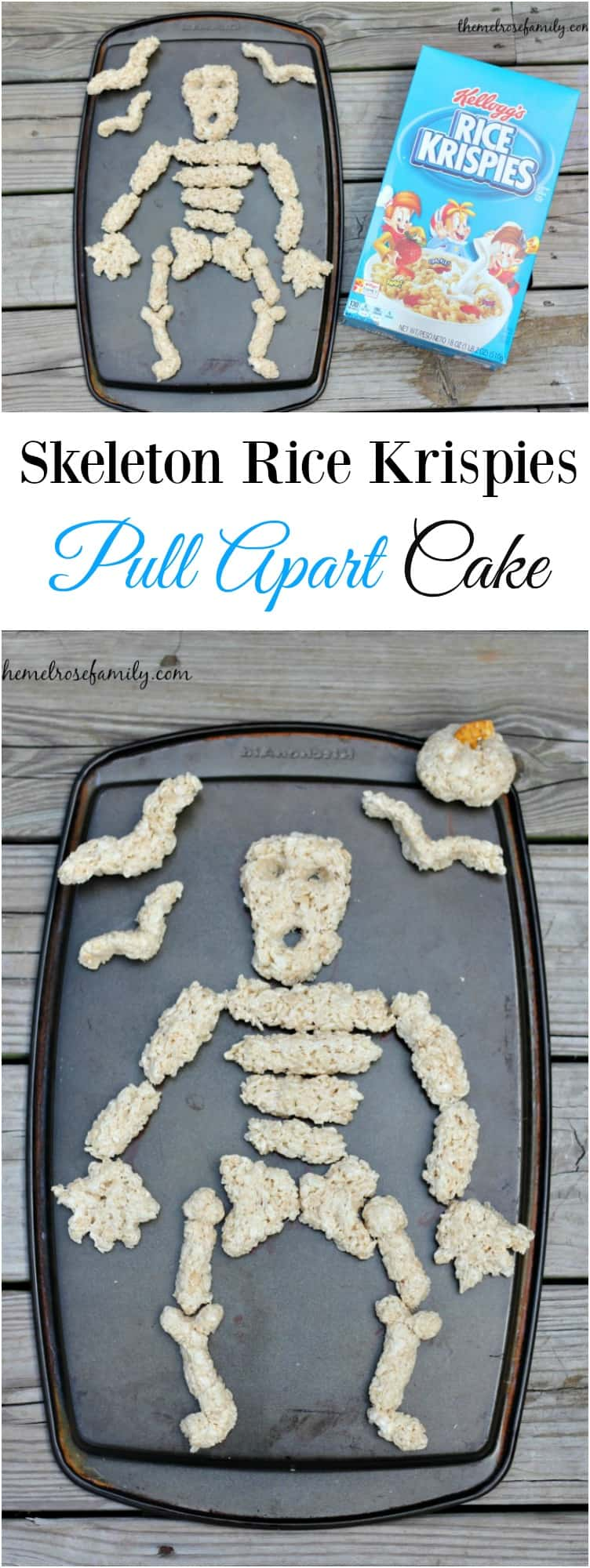 Looking for something easy and unique to make this Halloween? Our Skeleton Rice Krispies Pull Apart Cake is done in 15 minutes!